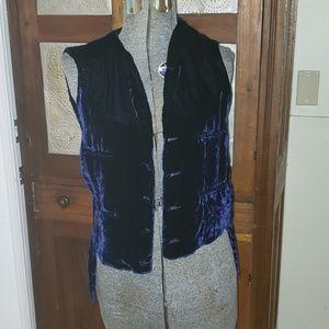 Vintage Ralph Lauren Bergdorf blue velvet vest